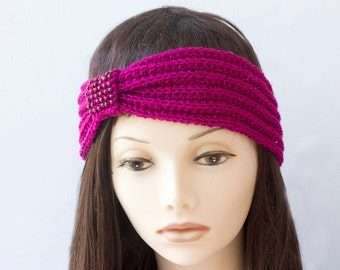 Raspberry Beaded Flapper Headband,  1920s Style Head Wrap,  Hand Knit Ear Warmers. Ready to Ship