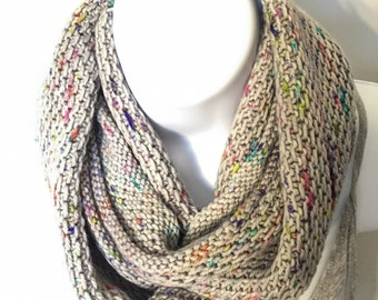 Merino wool Long Cowl/Infinity Scarf in Cosmic Silver, Hand Knit