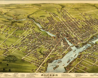 Poster, Many Sizes Available; Birdseye View Map Of Bangor, Maine, 1875