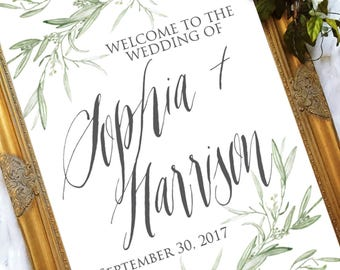 The Sophia Collection - Wedding Welcome Sign - Greenery Wedding Sign - Wedding Welcome Sign - Eucalyptus Wedding Sign