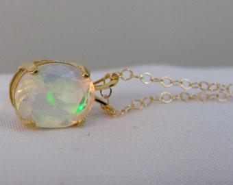 Ethiopian Opal Gold Filled Necklace, 10x8mm Faceted Opal Gemstone, October Birthstone, Welo Fire Opal, Gold Opal Pendant, Opal Jewelry