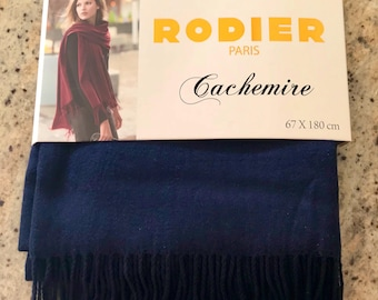 Rodier, scarf, shawl fringed cashmere and silk blend Navy Blue, new in original packaging, 67 cm x 180 cm