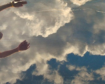 Fine Art Photography, 'Sky High' Limited Edition Image Transfer on Wood Panel by Patrick Lajoie, clouds, sky, cliff jumping, summer