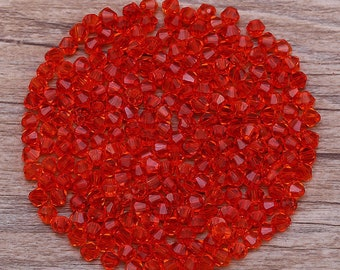 Bicone Beads, Red 4mm Bicones, Red Faceted 4mm Beads, Faceted Red Beads, 4mm Beads, AB Beads, Glass Beads, 4mm Red Beads, Swarovski Red Bead