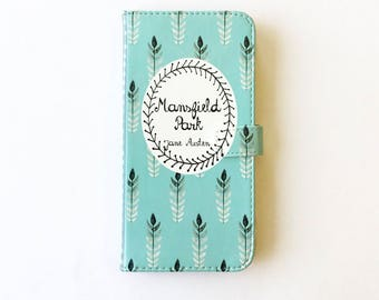 Jane Austen Gift, Mansfield Park Phone Case, Jane Austen iPhone Case, Book Phone Case, Book iPhone Case, iPhone 8 7 Samsung Wallet Phone