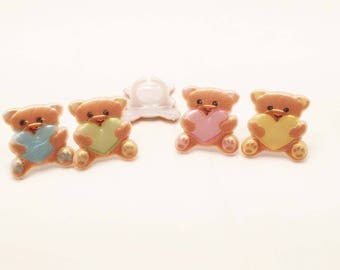 12 Teddy Bears and Hearts Cupcake Rings Toppers Party Favors Teddy Bear Baby Shower