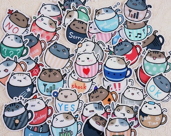 20 Pcs Coffee Cat Sticker, Cat in Coffee Cup Sticker Flakes, Coffee Cup Cat Filofax Stickers, Scrapbooking, Cat Schedule, Cat in a Cup