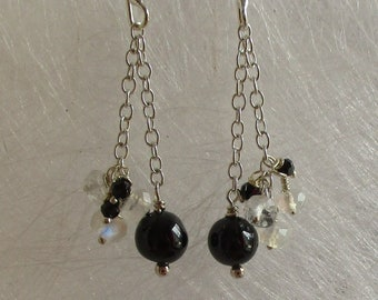 Black spinel and Moonstone earrings