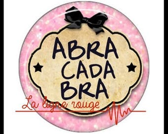 Abracadabra (2901) Magic magician, humor Cabochon with or without stand depending on your choice