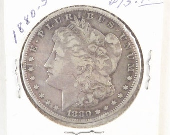 1880 S Morgan Silver Dollar Collectible Coin, One Dollar Coin San Francisco Mint, Vintage Coin