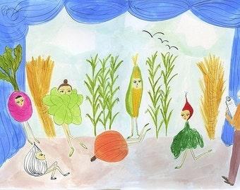 Ballets de L'automne Legumes. Limited edition print by Vivienne Strauss