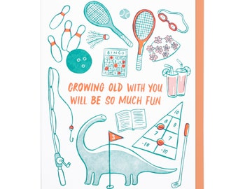 Growing Old With You Letterpress Card