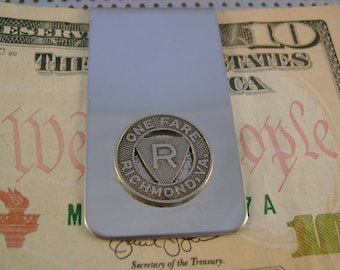 Vintage Authentic Richmond Virginia Transit Token Money Clip Man Gift, Wedding, Groomsman Gift, Fathers Day Gift