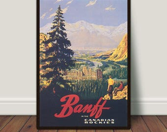 Banff Canada Print, Vintage Travel Poster, Canadian Rockies, PRINTABLE Art, Large Wall Art, Vintage Print, Large Print, Instant Download