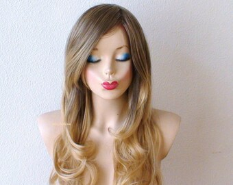Ash Caramel / Strawberry Blonde Ombre wig. Long curly hair with long side bangs Fashion hairstyle High quality  wig.