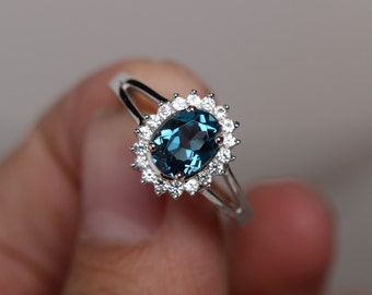 London Blue Topaz Ring Silver Gemstone Ring Engagement Ring Promise Ring Wedding Ring