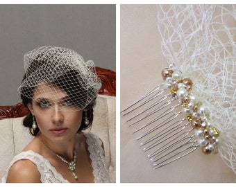 Bridal Veil, Birdcage Veil, Vintage Veil, Wedding Veil, Blusher Veil, Bridal Headpiece, Wedding Hair Piece, Pearl Veil, Rhinestone Hair Comb
