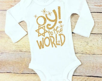 Oy! to the world gold glitter white bodysuit