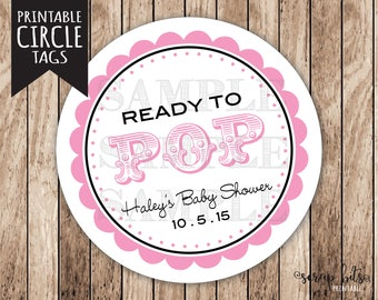 Personalized Printable Ready To Pop Baby Shower Tags, Printable Baby Girl ShowerTags