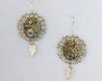 Vintage Watch Movement Earrings  SE184