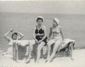 And again three Graces Three women on beach photography Summer recreation Russian photo Vintage photographs 1960s photo Old photo USSR
