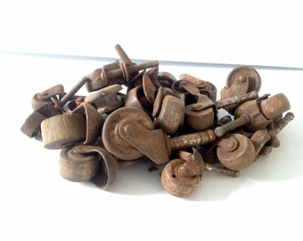 Antique Furniture Caster Wheels, 25 mismatch rusty metal and aged wood, no sets, all different, Metal Assemblage, Art, Craft, Replacement