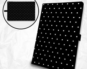 White-dots on Black iPad, iPad Air, iPad Pro case with personalized monogram