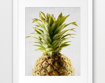 Pineapple Print, Pineapple Wall Art, Tropical Fruit Decor, Pineapple Photography, Kitchen Wall Art, Modern Home Decor, Digital Printable Art