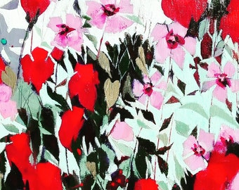 Original acrylic abstract floral signed .