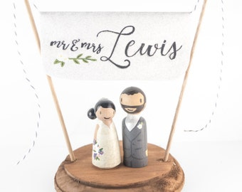 Mr and Mrs Cake Topper - Last Name Cake Topper - newlywed gift, Custom Wedding Cake Topper -  Personalized Monogram Cake Topper - mr and mrs