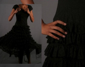 Black lace dress tiered frills sixties seventies cocktail vintage women size XS extra small
