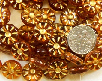 Daisy Flower Coin Beads, 12mm, Yellow Amber, Preciosa Czech Beads, Accent Beads, Spacer Beads, Side Drilled Beads, 15 Pieces