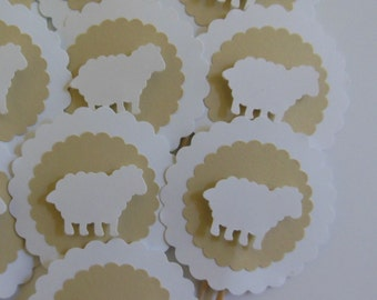 Sheep Cupcake Toppers - Tan and White - Gender Neutral - Baby Shower Decorations - Birthday Parties - Baptisms - Set of 12