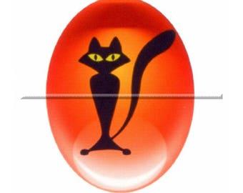 2 cabochons 25mm x 18mm glass, orange and black cat Halloween