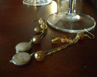 SALE Drops of Jupiter - Tigers Eye, faceted amber glass, smooth amber glass, Mother of Pearl