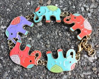 Elephant Bracelet - Colorful Elephants - Indian Elephant Bracelet - Gold Metal Bracelet - Adjustable Bracelet - Two Feathers Jewelry