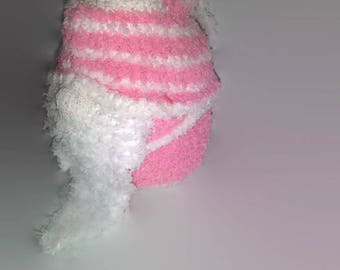 Mini Pink and White Sock Gnome / House Gnome / Tomte / Tomtenisse / Nisse / Tonttu / Garden Hermit / Kitsch Gnome / Travelling Gnome