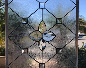 """The """"Ventura"""" Leaded  Beveled Leaded Stained Glass Window Panel  (We do custom work, email for a quick quote)"""