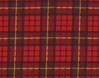 Plaid Fabric - Nutcracker Plaid - Metallic Gold - Red and Black - Cotton Material - Quilt, Craft - Fat Quarter, Half, By The Yard, Yardage