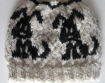 Fair Isle Hat, Farm grown / Hand Knit Alpaca and Wool Beanie for Adult Dog Lovers