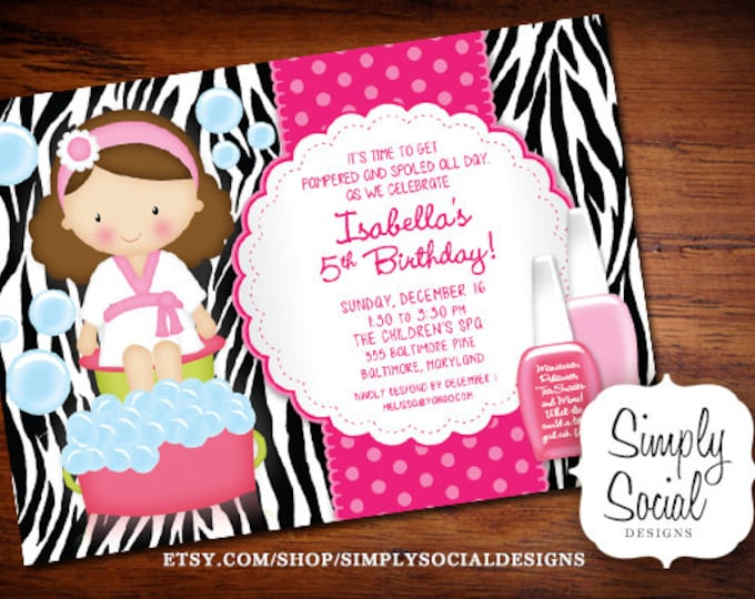 Kid's Spa Birthday Party Invitation Manicure Pedicure Nail Polish Zebra print Printable