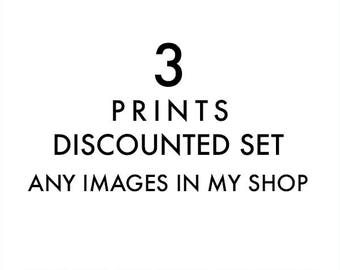 set of 3 fine art prints, any images in my shop printed, discounted set, 8x8, 5x5, 11x14, photography prints, nursery wall art, your choice