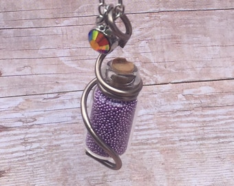 Purple Pixie dust bottle necklace