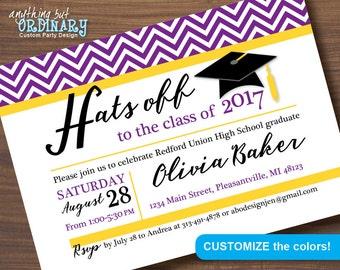 Purple and Gold Printable Graduation Invitation, Hats Off Chevron Grad Invites, School Colors Grad Party, digital file