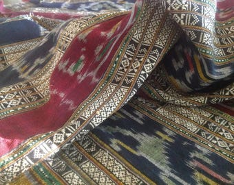 Thai Ikat and Brocade Woven Silk and Cotton Yardage