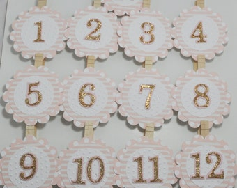 Pink and Gold Polka Dot Photo Clips- Set of 13- Girl 1st Birthday