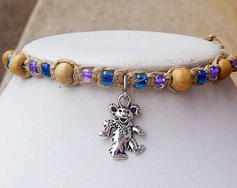 Grateful Dead Dancing Bear Hemp Necklace Choker   Macrame Girls Festival Jewelry Deadhead  Hippie