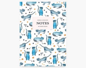 Cat notebook, Notebook, journal, diary, stars, A6, stationery, carnet, chat, gift,cat pattern, birthda cute, cat pattern, cat lovers