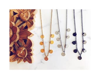 Coin necklace in gold, silver or gunmetal, layering necklaces, boho jewelry