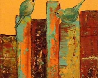 Love birds on apricot books art print